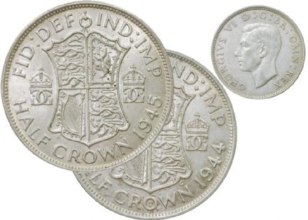 Silver Halfcrowns of George VI 1937-1946 x 3 Different